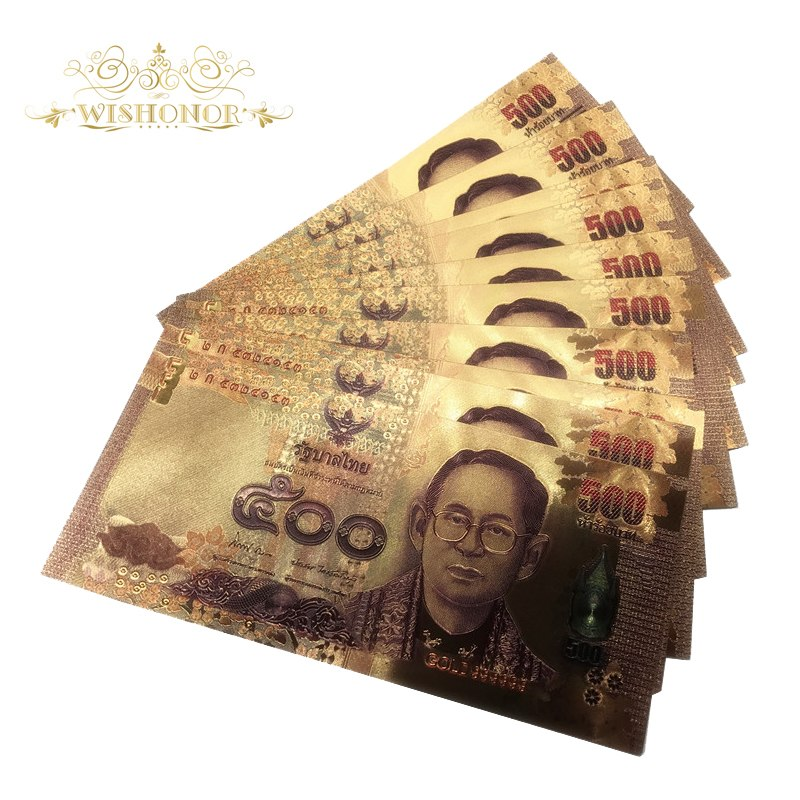 10pcs/lot 24K Color Thailand 500 Baht Gold Foil Banknote Double Side  Printing, Currency Banknotes Paper Money For Collection-in Gold Banknotes  from