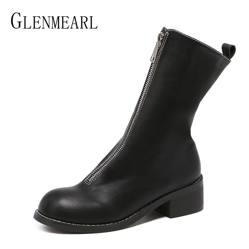 Luxury Women Boots Genuine Leather Mid Calf Shoes Platform Thick Heels  Round Toe Boots Female Fashion Zipper Mesh Ladies Shoe DE-in Mid-Calf Boots  from Shoes on Aliexpress.com   Alibaba Group