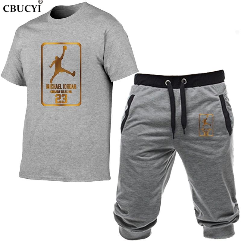 t shirt short pants men fashion print