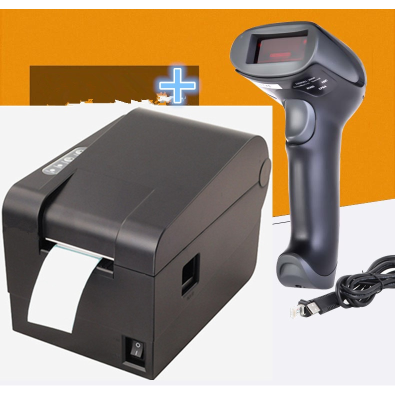 1 Wired Barcode Scanner+ clothing tag 58mm Thermal barcode